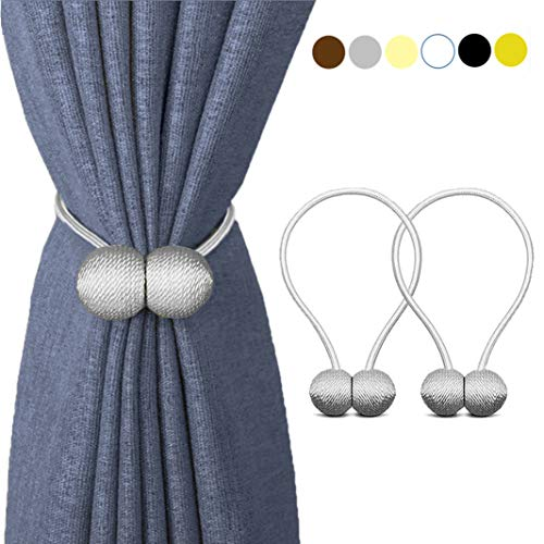 (HILELIFE Magnetic Curtain Tiebacks Clips - Window Tie Backs Holders for Home Office Decorative Rope Holdbacks Classic Tiebacks Design, 1 Pair (Grey))