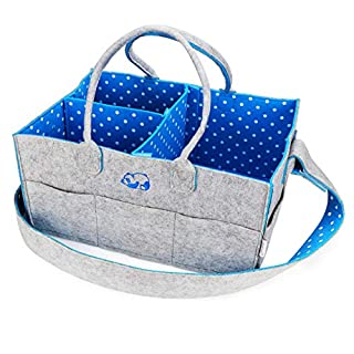 "Baby Diaper Caddy Nursery Organizer - Portable Changing Table Organizer and Diaper Stacker - Cute Gift for Registry for Baby Shower (15"" x 10"" x 7"") (Blue)"