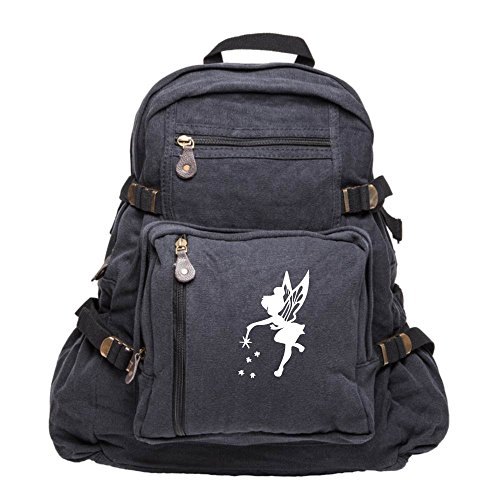 Tinker Bell Fairy Peter Pan Army Sport Canvas Backpack Bag Black & White, Large