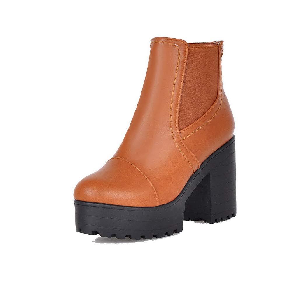 AMGXX012269 WeenFashion Womens Low-Top Zipper Pu High-Heels Closed-Toe Boots