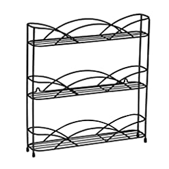 Kitchen Spectrum Diversified Countertop 3-Tier Rack Kitchen Cabinet Organizer or Optional Wall-Mounted Storage, 3 Spice Shelves… spice racks