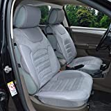 180202S Grey-2 Front Car Seat Cover Cushions Leather Like Vinyl & Suede , Compatible to HYUNDAI EQUUS ACCENT AZERA TUCSON FUEL CELL SANTA FE SPORT SONATA HYBRID SONATA PLUG-IN 2018 2017-2007
