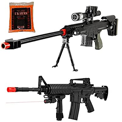 2 GUN PACK - Airsoft Sniper Rifle and Spring Rifle COMBO PACK w/ BBS