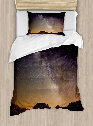 Ambesonne Night Duvet Cover Set Twin Size, Milky Way over Desert of Bardenas Spain Ethereal View Hills Arid Country, Decorative 2 Piece Bedding Set with 1 Pillow Sham, Plum Apricot Chocolate by Ambesonne