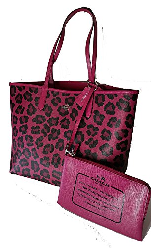 Coach F36609 City Tote Reversible Burgundy Black Signature PVC RHU4R
