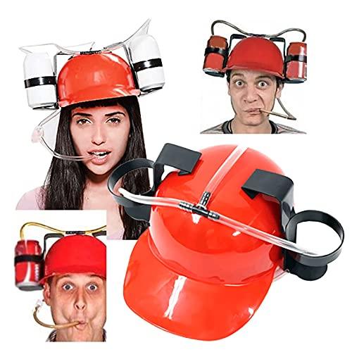 bestheart Drink Helmet Beer Drinking Helmet Lazy Beer Drink Cap Drinking Accessories for Adults & College (Red)