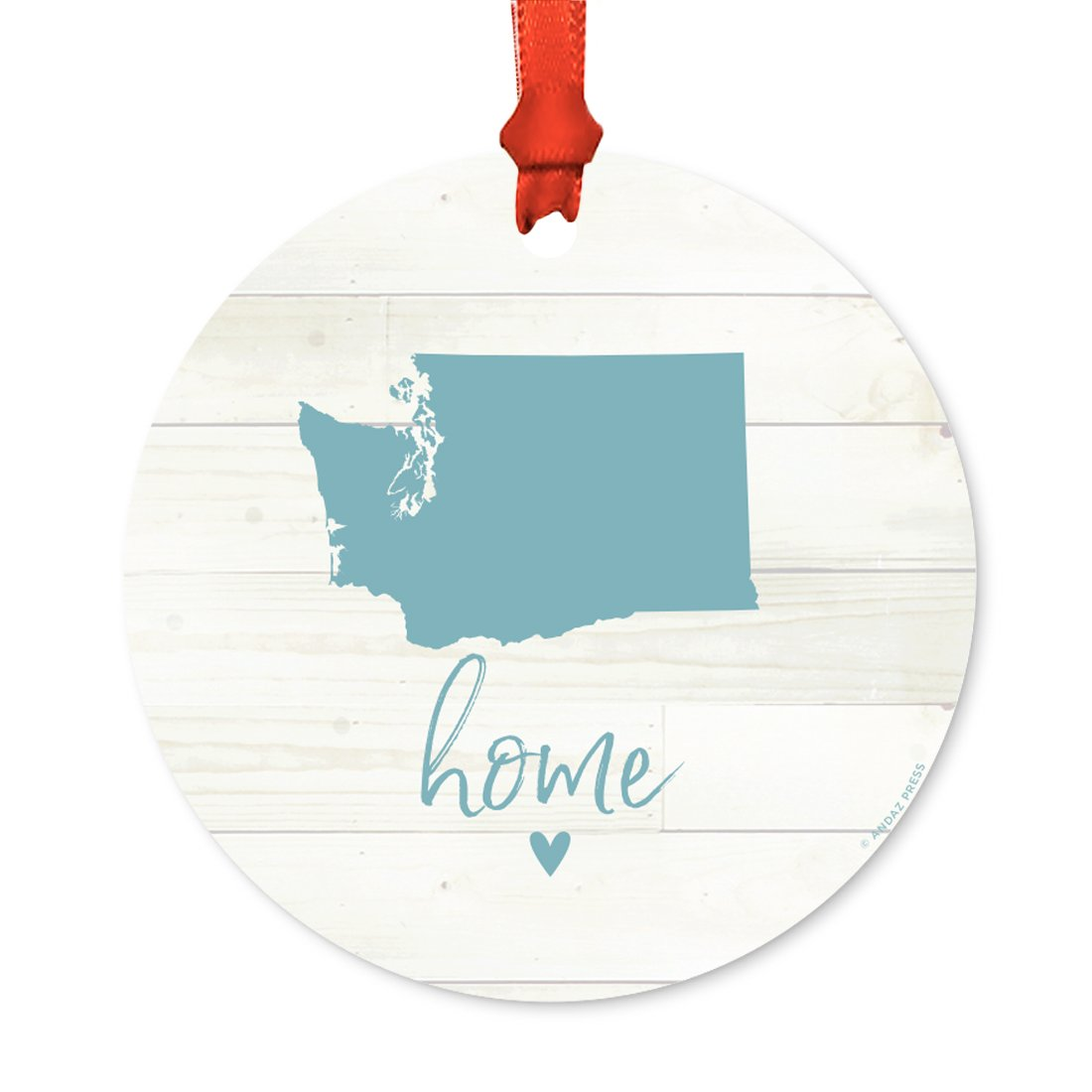 Andaz Press US State Round Metal Christmas Ornament, Rustic Light Wood Print, Washington Home, 1-Pack, Includes Ribbon and Gift Bag