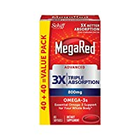 MegaRed Advanced Triple Absorption 800mg, 80 softgels - Omega-3 Fish Oil Supplement