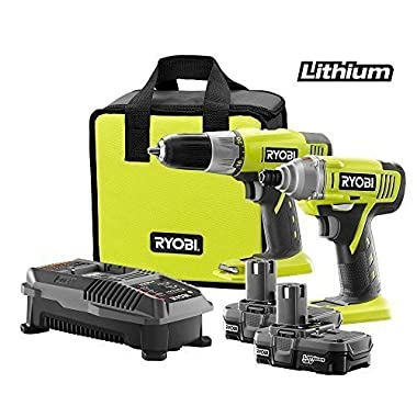 Ryobi P882 One+ 18v Lithium-Ion Drill and Impact Driver Kit