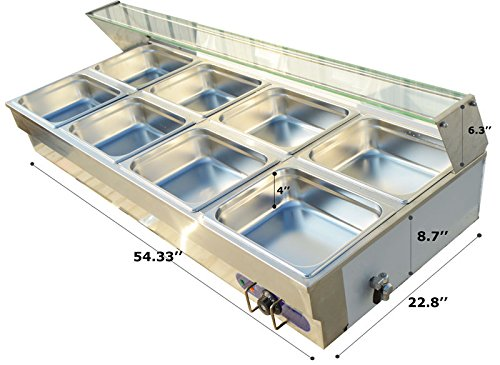 110v 8-well Commercial Bain-marie Buffet Food Warmer Steam Table