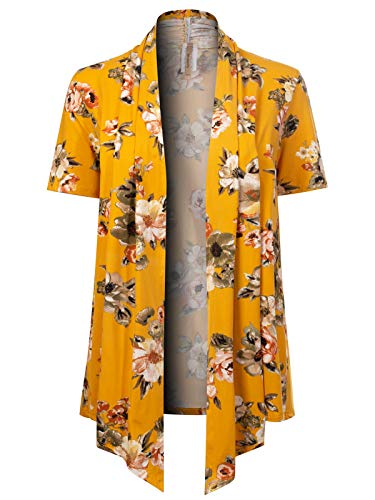 Cable Bolero - MixMatchy Women's [Made in USA] Solid Jersey Knit Short Sleeve Open Front Draped Cardigan (S-3XL) Mustard Flower Print XL