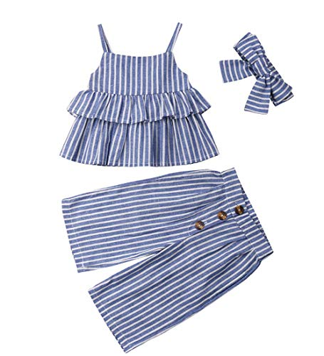2164ab988e19f Toddler Kids Baby Girl Stripe Ruffled Outfits Clothes Swing Tops+ ...