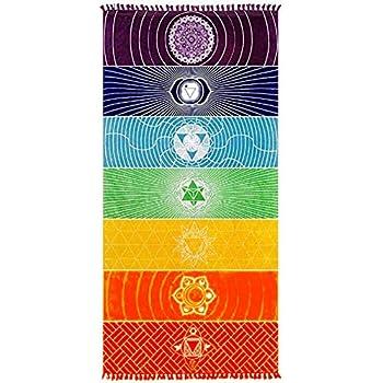 Neasyth Chakra Tapestry Meditation Yoga Rug Towels Mexico Chakras Tassel Striped Floor Mat 59 in (Soft Microfiber (Like Cotton), 59x30in)