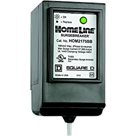 Square D by Schneider Electric HOM2175SB Homeline SurgeBreaker Surge Protective Device Takes 2 Load Center Spaces 4 Equal protection to circuits and receptacles throughout home Includes an LED indicator Can be used in service entrance locations, CSEDs and Homeline load centers