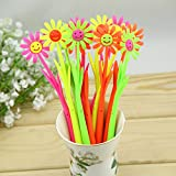 Katoot@ 12pcs/lot Novelty Sunflowers shaped gel pen Cute Silicone smile face 0.38mm flower black ink pen Korean stationery school supply