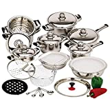 New 12 Element 28pc T304 Stainless Steel Waterless Cookware Set Pots & Pans