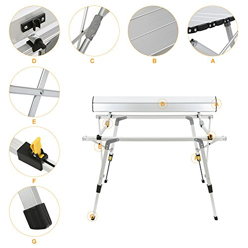 ROKOO Folding Camping Table, Portable Height Adjustable Aluminum Picnic  Table With Carrying Bag For Camping