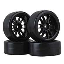BQLZR 12mm Drive Hex 12-Spoke Black Plastic Wheel & Plastic Drift Tire for RC 1:10 On-Road Car Pack of 4