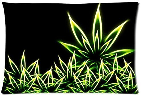 Marijuana Weed Leaf Nature Green Lifestyle Cotton Pillow Case Cover Standard Size 20x30 inch (one side)