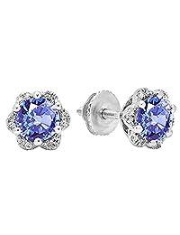 10K Yellow Gold Round Ladies Flower Shape Cluster Stud Earrings