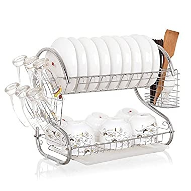 Kommii 2 Tier Dish Drying Rack Functional Durable Wire Frame Hanging Rack with Plastic Tray for Kitchen Utensils