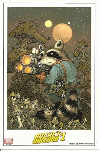 Rocket Raccoon Lithograph Art Print Marvel SDCC Comic-Con 2014 10 1/8