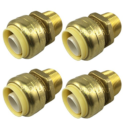 "[4-Pack] PROCURU 1/2"" PushFit x 1/2"" MNPT Male Adapter - Sharkbite Style - Plumbing Fitting for Copper, PEX, CPVC, Lead Free Certified (0.5 Inch (1/2""), 4-Pack)"