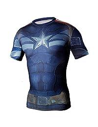 Generic Men's Short Sleeve Crewneck Compression Super Heroes T-shirt Wicking Tee