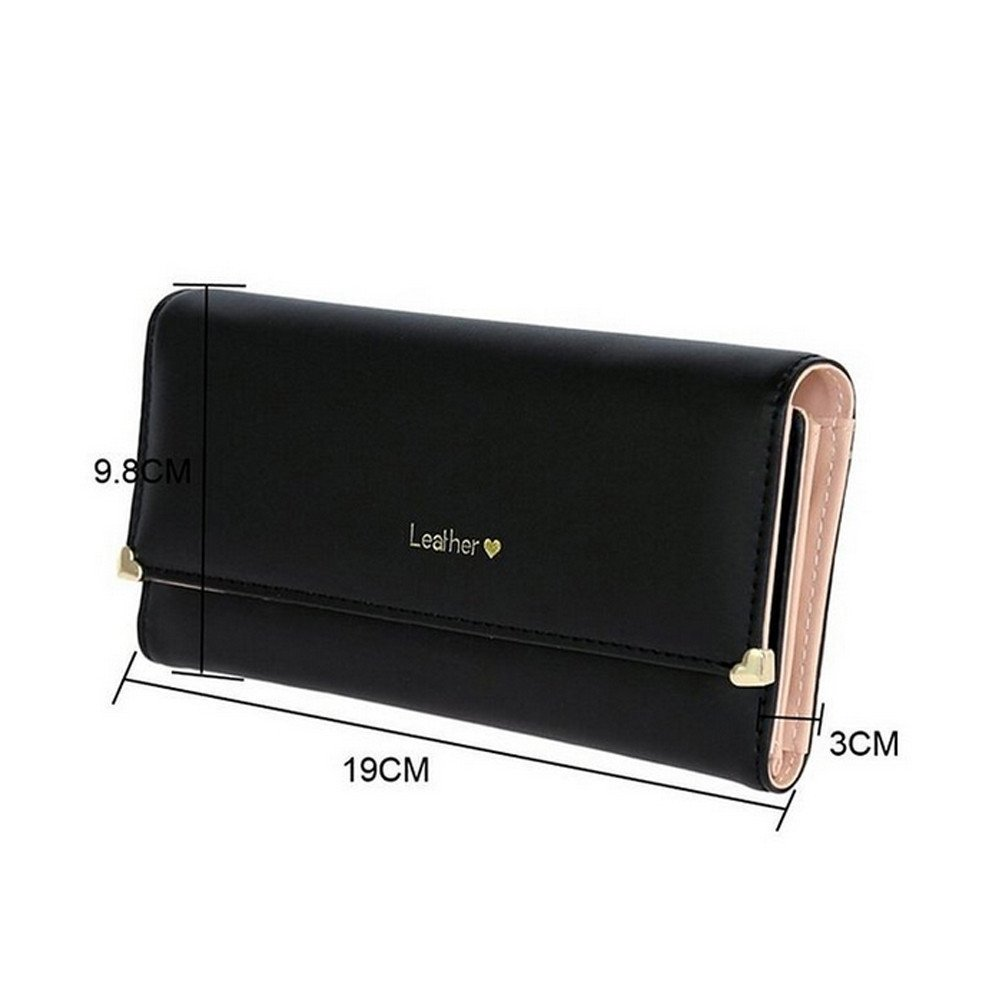 15e90af9bd4d Yiuswoy Women's Faux Leather Wallet Coin Purse Wallet Card Case Purse  Trifold Wallet with Zipper