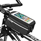 "IKOCO Bike Frame Phone Bag Waterproof Bicycle Front Top Tube Zipper Handlebar Bags with Touch Screen Holder Cycling Bag Fits iPhone 7 8 Plus XS Max"" Below 6.2 Inches"