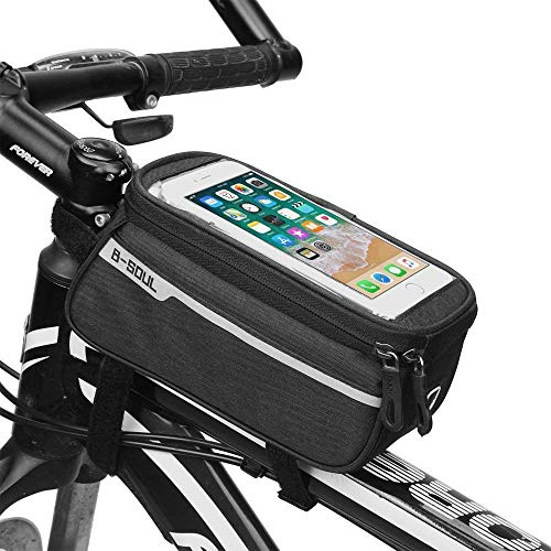 IKOCO Bike Frame Phone Bag Waterproof Bicycle Front Top Tube Zipper Handlebar Bags with Touch Screen Holder Cycling Bag Fits iPhone 7 8 Plus XS Max'' Below 6.2 Inches (Black)