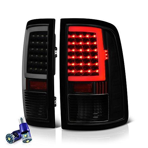 VIPMOTOZ OLED Neon Tube Tail Light Lamp For 2009-2018 Dodge RAM 1500 2500 3500 - [Factory Incandescent Model] - CREE LED Reverse Bulbs, Matte Black Housing, Smoke Lens, Driver & Passenger Side