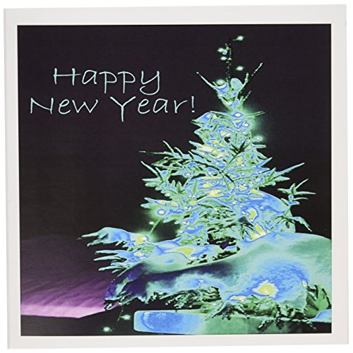 3dRose Pretty Christmas Tree Happy New Year in Ice Blue With Light Blue Text - Greeting Cards, 6 x 6 inches, set of 12 (gc_8926_2)