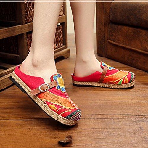 Pechino Slip Rosso On Vecchie Fibbia Scarpe Ricamate Colorato Minetom Espadrillas Fiore Moda Piatti di Vintage Donna Mocassini qwO01C