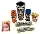 Popcorn Lovers Gift Set Bundle - Artsy Coffee Mug, Popcorn Cobs, Jelly Belly Popcorn Jelly Beans + White & Nacho Cheddar Seasoning