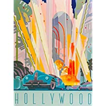 Hollywood Southern California Vintage Art Deco Car United States America Travel Advertisement Poster Print. Measures 10 x 13.5 inches
