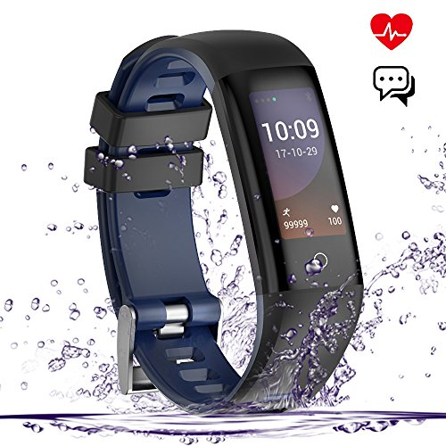Training Heart Rate Monitor Watch (Fitness Tracker, Smart Watch, Waterproof Color Screen Smart Wistband Bluetooth Bracelet Pedometer Watch Health Activity Tracker with Sleep/Heart Rate/Blood Pressure Monitor, Navy Blue)