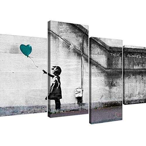 Set Artwork (Large Banksy Balloon Girl Canvas in Teal - Iconic There is Always Hope Artwork - Modern Street Art Prints - Set of 4 Graffiti Canvases - Split Multi Panel - XL - 130cm)