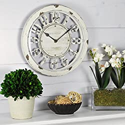 FirsTime & Co. FirsTime Antique Contour Wall Clock, 10, Distressed Ivory