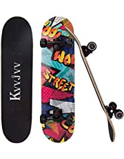 Kvvjvv Skateboard, 80x20cm Pro Complete Standard SkateBoards for Girls Boys Beginner, 7 Layer Canadian Maple Kids Teens Adults Skateboards