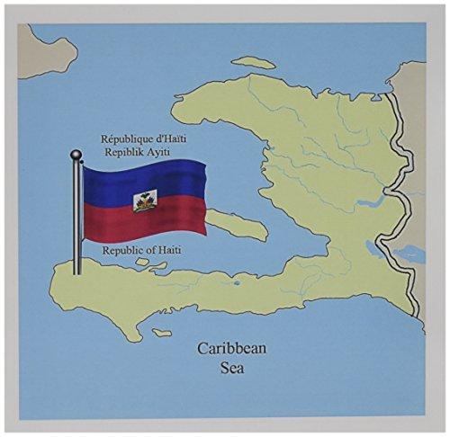 3dRose tarjetas de felicitación, Haití mapa, Inglés, bandera (gc _ 63254_ 1)