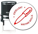 MaxMark Round Teacher Self Inking Stamp - EXCELLENT WRITING SKILLS - Jumbo Series, Style TS312 with Red Ink