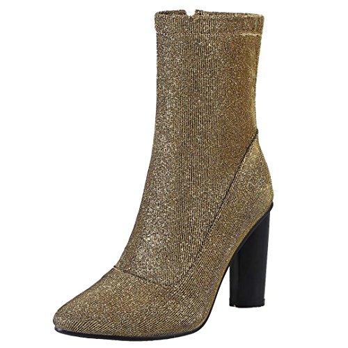 AIYOUMEI Damen Glitzer Stefeletten mit 9cm Absatz und Reißverschluss Herbst Winter Stiefel Elegant Winter Schuhe Gold