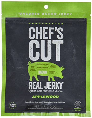 Chef's Cut Tender Real Bacon Applewood Jerky - Made with Premium Cuts, Gluten & Nitrite Free - Paleo Friendly, 2.5 Ounce (Pack of 4)