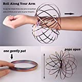 Amazing Magic Flow Rings Kinetic Educational Spring Toy Funny Outdoor Game Intelligent Relax 3D Kinetic Ring Spring Bracelet Stainless Metal Galactic Globe Toy Fit for Kids Boys Girl Adults