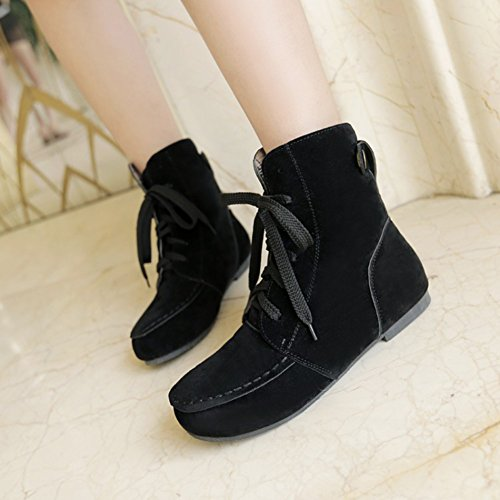 Booties Trendy Ankle Lace Round Faux Shoes Martin Summerwhisper Flats Suede Short up Boots Black Toe Women's OBq57w74A