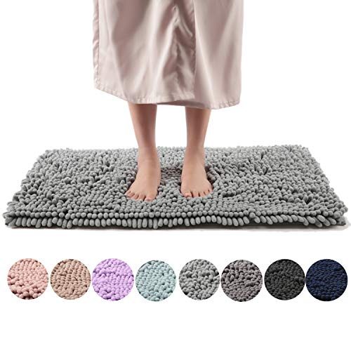 Freshmint Chenille Bath Rugs Extra Soft Fluffy and Absorbent Microfiber Shag Rug, Non-Slip Runner Carpet for Tub Bathroom Shower Mat, Machine-Washable Durable Thick Area Rugs (20″ x 32″, Light Gray)