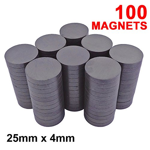 Skilled Crafter Strong Craft Magnets 1 inch. 25mm/4mm Ferrite Disc Magnet. 100 Pieces for Best Value. Ceramic Grade 5 Strength. Ideal for Fridge, Whiteboard, Industrial, Scientific & Home