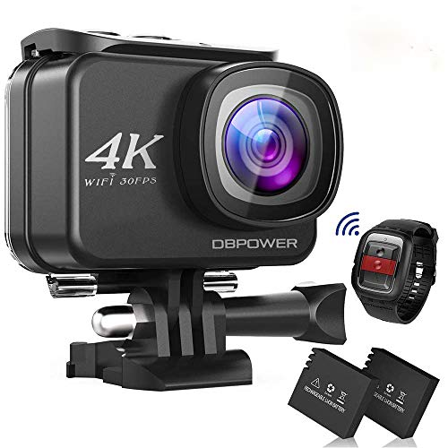 "DBPOWER D5 Native 4K EIS Action Camera 2"" LCD Touchscreen 14MP WiFi Waterproof Sports Camera with 4K 30fps Video and 170° Wide-Angle Lens 2.4GHz Remote Control 2 Pcs Rechargeable Batteries"