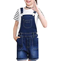 Luodemiss Girls's Casual Denim Overalls Bib Toddler Jeans Big Kids Outwear Cowboy Shorts